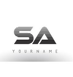 Sa black and white horizontal stripes letter logo vector