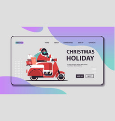 santa claus in mask driving scooter delivering vector image