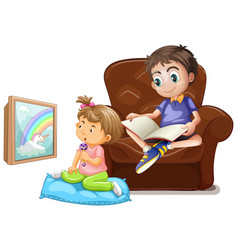 scene with boy reading book and girl watching tv vector image