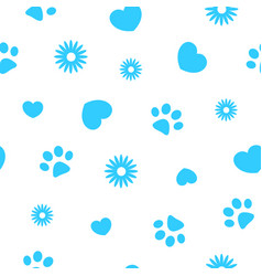 seamless blue pattern with pawprints and hearts vector image