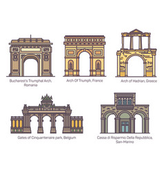 Set european famous arch in thin line vector