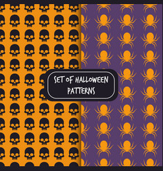 set of halloween pattern backgrounds skull spider vector image