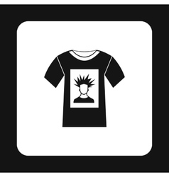 Shirt with print of man portrait icon simple style vector image