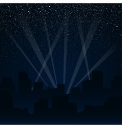 Silhouette of the city Rays of spotlights vector image