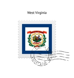 State of West Virginia flag postage stamp vector