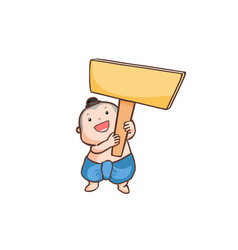 thai boy holding a wooden board vector image