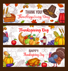 Thanksgiving day harvest greeting banners vector