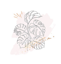 tropical monstera leaves bush silhouette in line vector image