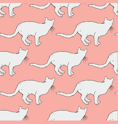 white cat seamless pattern vector image