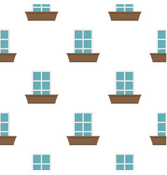 White window and flower box pattern flat vector