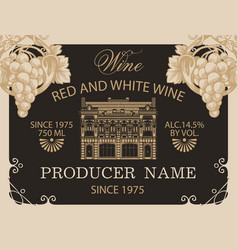 wine label with grapes and old building facade vector image