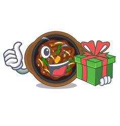 With gift bulgogi in a cartoon shape vector