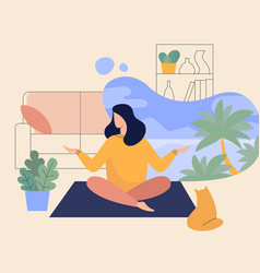 Woman meditating at home yoga lady in room vector