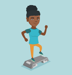 Young african-american woman exercising on steeper vector