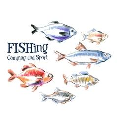 fresh fish logo design template seafood vector image vector image