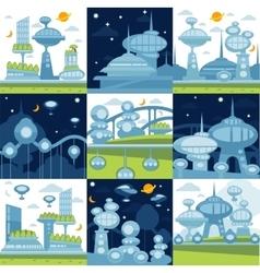 Future city landscapes set vector image