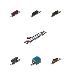 isometric train set of depot train lumber vector image vector image