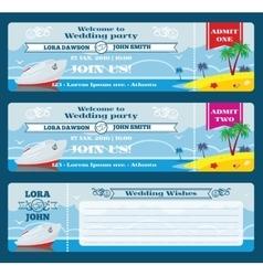 Retro boarding pass ticket Wedding invitation vector image vector image