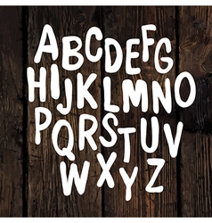 hand drawn alphabet wooden texture vector image