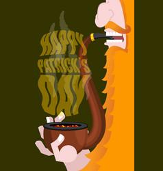 happy patricks day leprechaun smokes pipe smoking vector image vector image