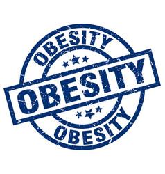 obesity blue round grunge stamp vector image vector image