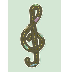 Paper road in the shape of treble clef vector image vector image