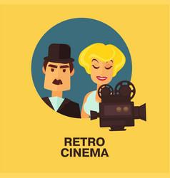 retro cinema movie comic actor man and star woman vector image vector image