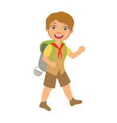 smiling boy scout carrying a tourist backpack a vector image vector image