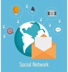 social media network globe isolated vector image
