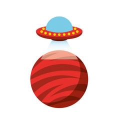unidentified flying object on planet icon vector image