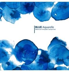 Watercolor blue circles abstract frame vector image vector image