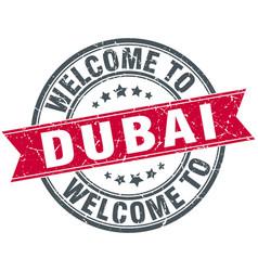 Welcome to dubai red round vintage stamp vector