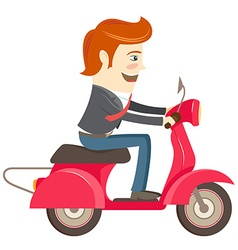 Funny hipster businessman character riding red vector image
