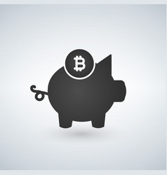 piggy bank bitcoin icon crypto currency saved vector image