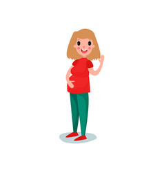 pregnant woman character standing and waving her vector image