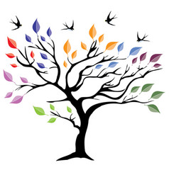 tree with colorful leaves vector image vector image