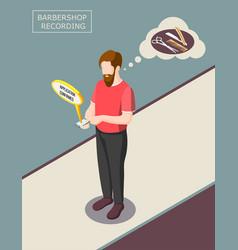 Barbershop recording isometric background vector