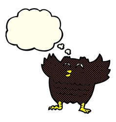 cartoon black bird with thought bubble vector image