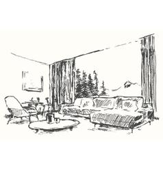 Modern interior Cozy room nature drawn sketch vector image