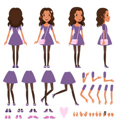 pretty girl in dress with small handbag for vector image