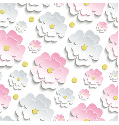 Seamless pattern with pink and white sakura vector image vector image