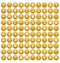 100 anatomy icons set gold vector
