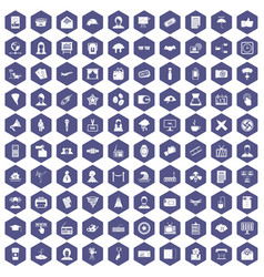 100 journalist icons hexagon purple vector