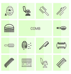 14 comb icons vector