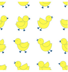3 styles yellow birds line up on white vector image