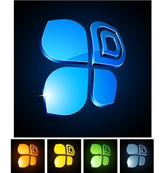 3d vibrant butterfly emblems vector image