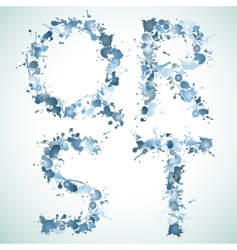 Alphabet water drop qrst vector image