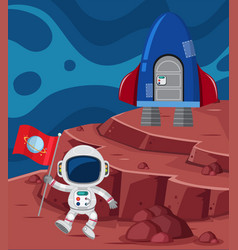 astronaut and rocketship on planet vector image