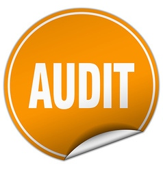 Audit round orange sticker isolated on white vector