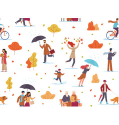 autumn people seamless pattern guys and kid vector image